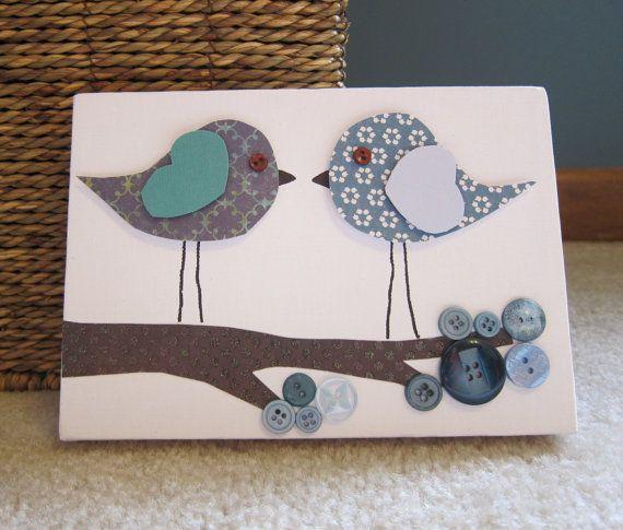 Art de toile pour enfants chambre, décor de pépinière, 5 x 7, oiseaux sur branche, mignon comme un bouton, le bleu et le brun