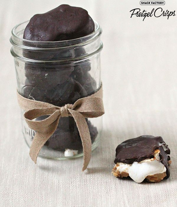 Chocolate covered campfire marshmallow and peanut butter s'more Pretzel Crisps cookies #dessert