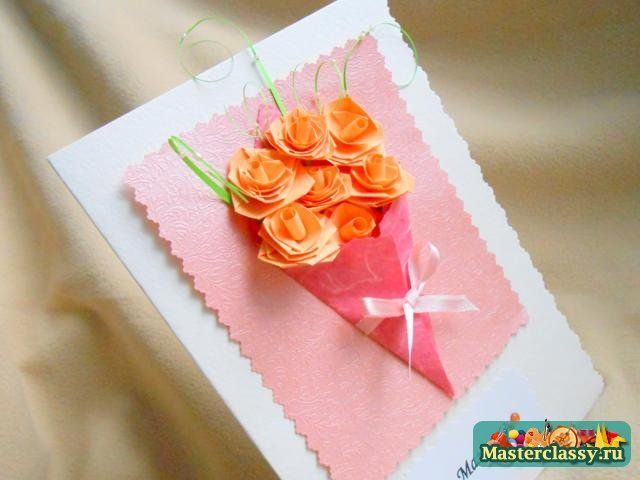 Gifts for Mother's Day with their own hands. Greeting card with roses. Master class with step by step photos