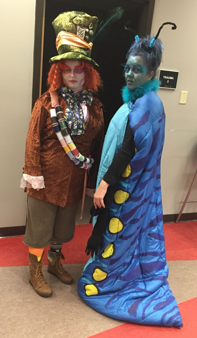 Our costumes rock! Alice in Wonderland's Mad Hatter and Caterpillar with April Sanders