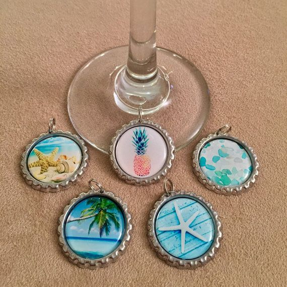 Tropical Wine Charms wineglass charms wine glass by WineNot781