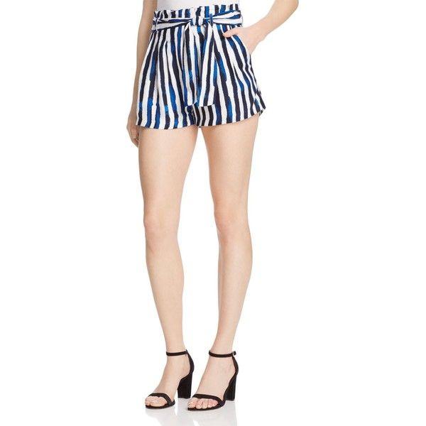 Aqua Paint Stripe Paper Bag Shorts ($61) ❤ liked on Polyvore featuring shorts, paperbag shorts, aqua shorts, stripe shorts, striped shorts and paper bag shorts