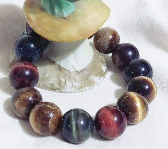 Natural Multi Color Tiger's Eye Gemstone by LuckyFrogDesigns