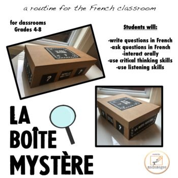 "Are you looking for an engaging activity to introduce a new unit, or to get your FSL students speaking in the target language? Perhaps you would like your students to practice asking questions with purpose, in an authentic activity. ""La boîte mystère"" is an activity that is popular"