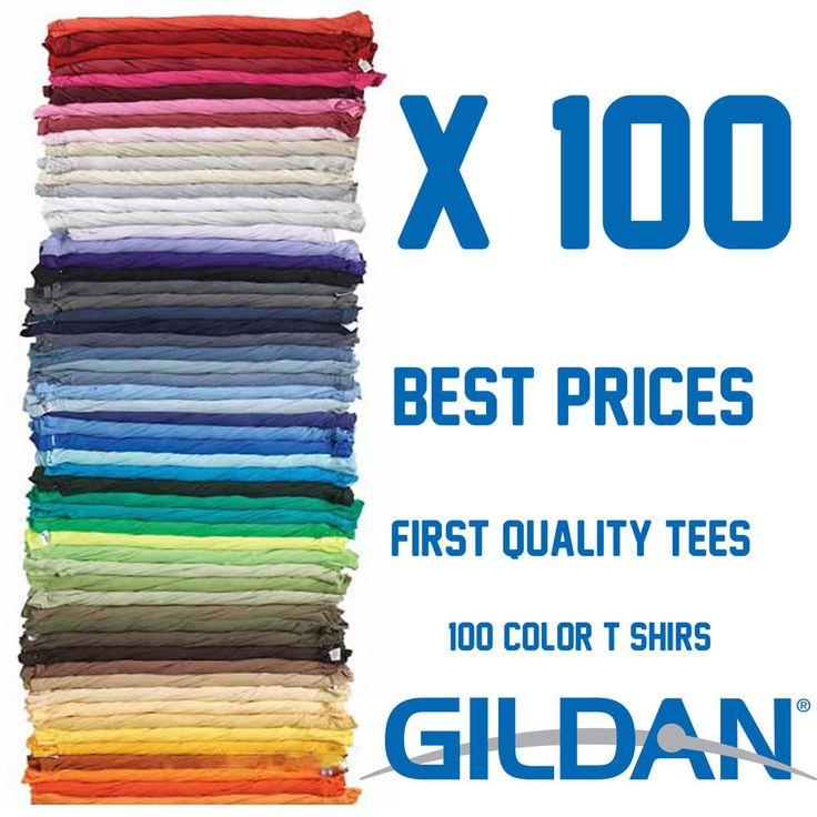100 T-shirts Gildan Bundle Blank Colors Plain Men's Tee S-XL for Screen Printing #Gildan