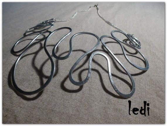 collana Amazzonia 3 filo alluminio catena metallica di lediShirley