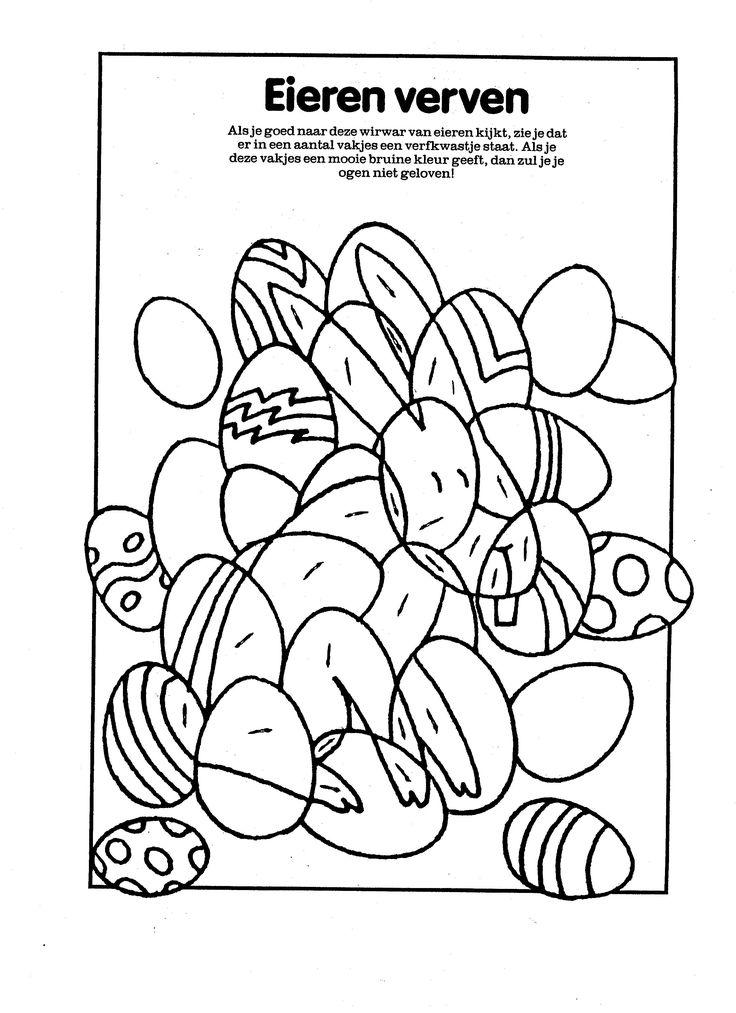 eieren verven verstopte paashaas pasen kleurplaten