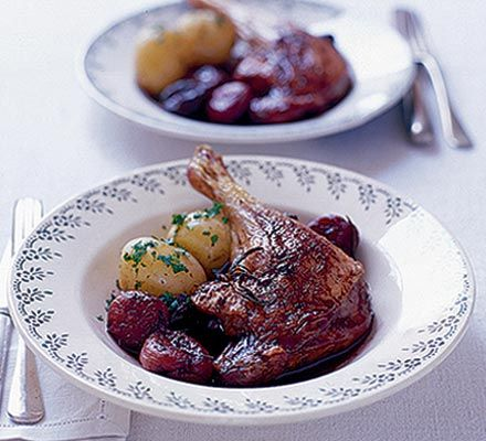 Roast duck legs with red wine sauce. I used red wine jelly and port, and am looking forward to the result.