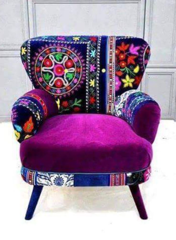 Purple, patterned chair.