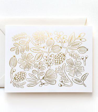 Gold Botanical Pattern Card Set