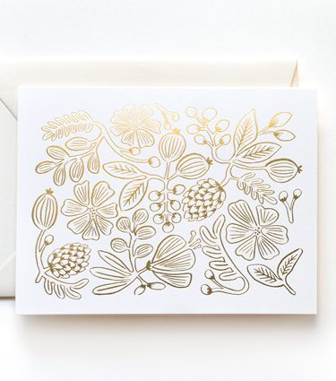 Gold Floral Pattern Card from Rifle Paper Co. foiling gilding gold