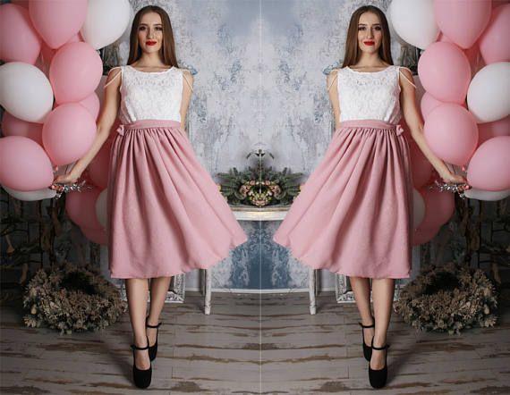 Blush pink powder two tonechiffonlacepromtwo tonetea