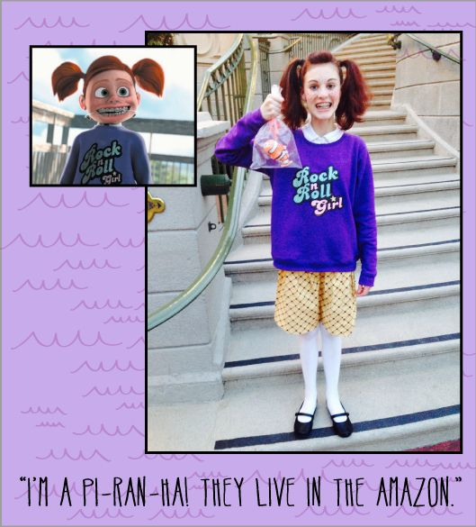 Darla from finding nemo. I kind if really want to be Darla for Halloween
