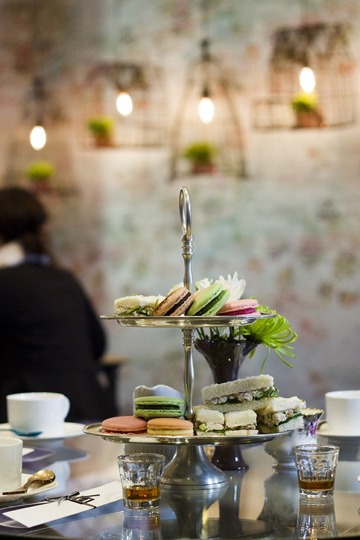 Macarons and Finger sandwiches at Melbourne design studio Beautiful Room hosted in support of the National Breast Cancer Foundation.  Photo by Reflect Photography