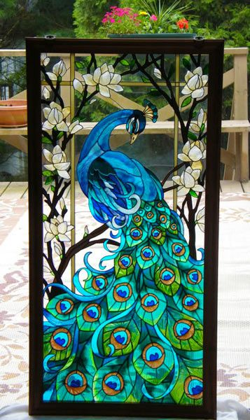 .Peacock Glass Painting.Create stained glass effect with acrylic paints and glue!