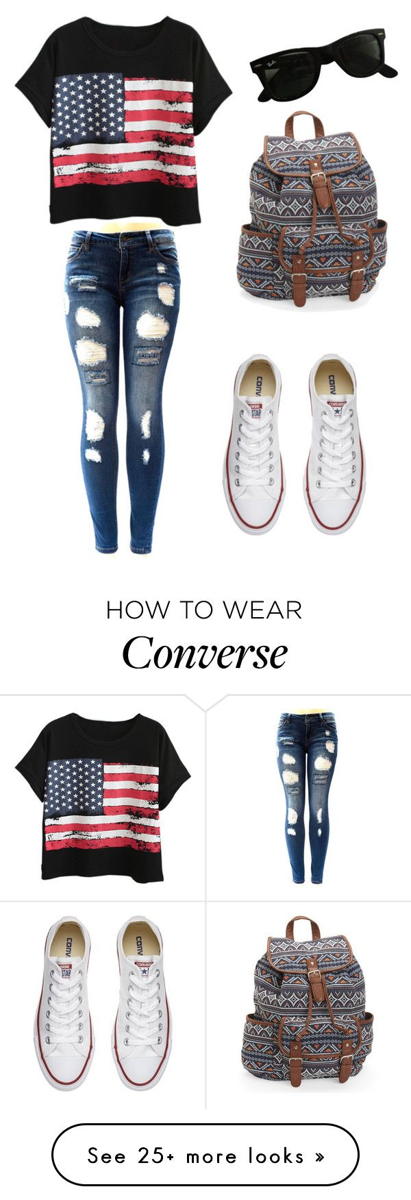 How to wear converse by sw94561 on Polyvore featuring Chicnova Fashion, Converse, Ray-Ban and Aéropostale