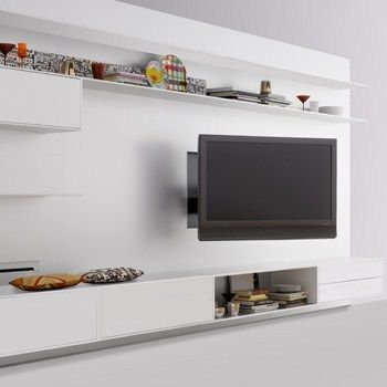 Ideas : Remarkable TV Unit Design Ideas For Cool Interior   Wonderful  Flexible LCD TV Wall Unit Design Ideas With Sleek White Backdrop
