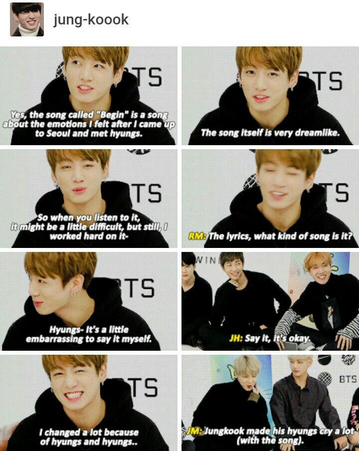 Awwww this is the mot adorable thing in the world jungkook is so kind especially towards is hyungs.