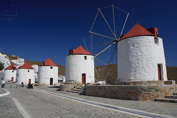 Wiindmills in Chora of Astypalea, Greece