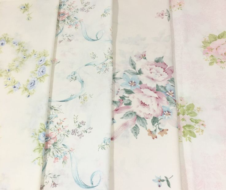 mismatched vintage floral pillowcases blue pink flowers roses ribbons set of 4 standard pillow cases by