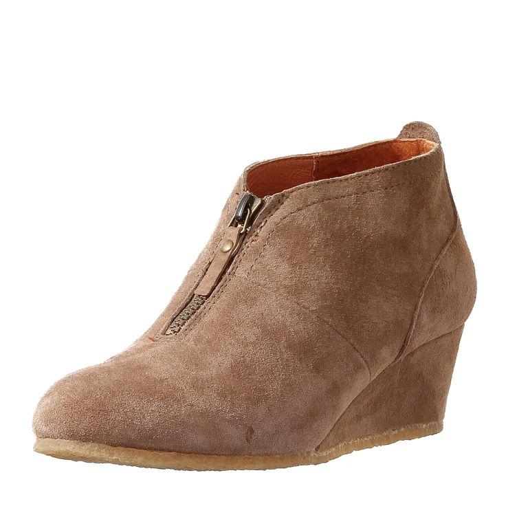 POINTER Damen leder Keil-Ankle Boots Lara tobacco Absatz 4,5cm