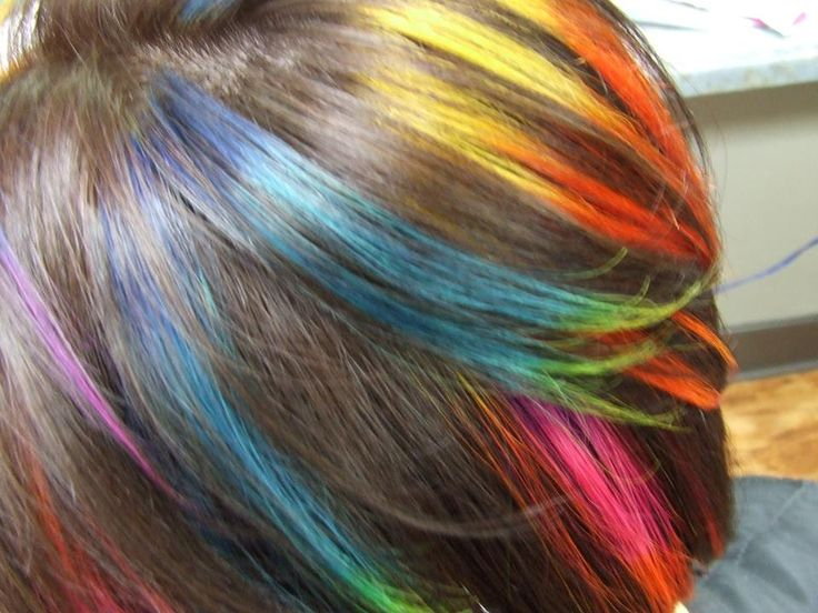 Rainbow hair on the amazing Sarah Rochelle by Kate Oliver @ Fayetteville College of Cosmetology Arts and Sciences in Fayetteville Tn.