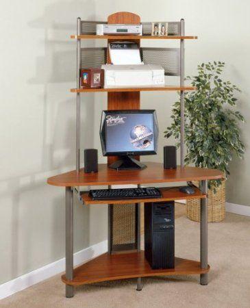 small corner computer pc desk w tower hutch storage shelves college home office
