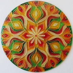 """Mandala Hand glass drawing mandala """"Odhodlání...""""…"""