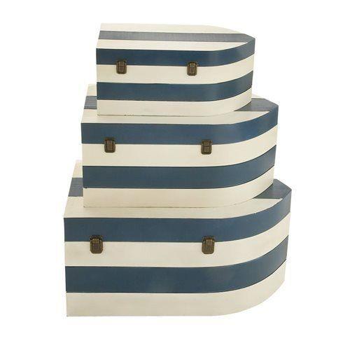 blue and white nautical trunks set of three