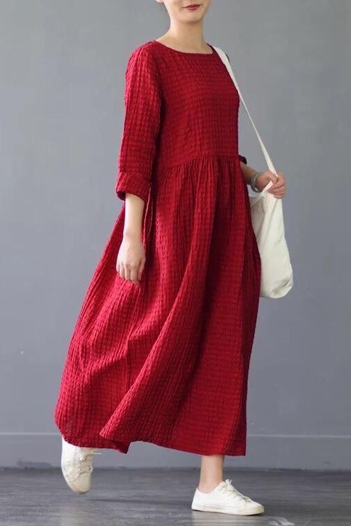 Silk Linen Loose Spring Causel Long Dress Oversize Women Clothes 2661