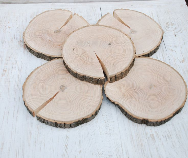Round wood slabs Wood slices for centerpieces Wood rounds Wooden platter Wood centepiece wedding Rustic decoration Home decor Wooden coaster by DKUA on Etsy