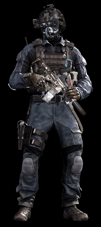 Call of Duty Ghosts © Activision / Infinity Ward ------- Jake Rowell = Art Lead  & Marketing Image / Chris Barnes = Character Art / Jake Rowell &  James Bradford = Head & Helmet Art / Sean Byers = Weapon Art
