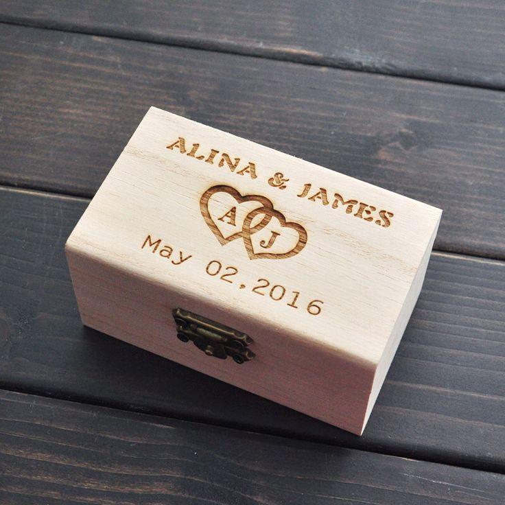 Rústico Caixa de Casamento Do Portador de Anel, Caixa Do Anel De Casamento personalizado, anel titular caixa de madeira, Decoração de casamento Presentes de Casamento Personalizado
