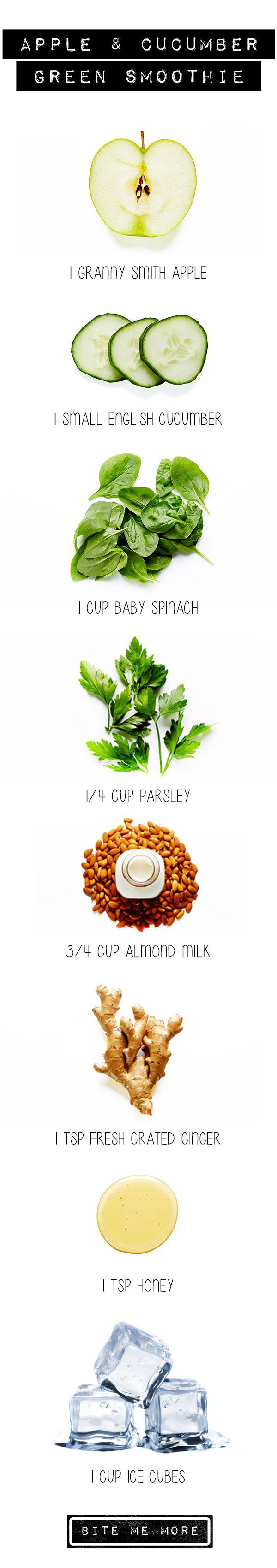 1 granny smith appel - 1 komkommer - 1 cup spinazie - 1/4 cup peterselie - 3/4 cup amandelmelk - 1 el gember - 1 el honing - 1 cup ijblokjes