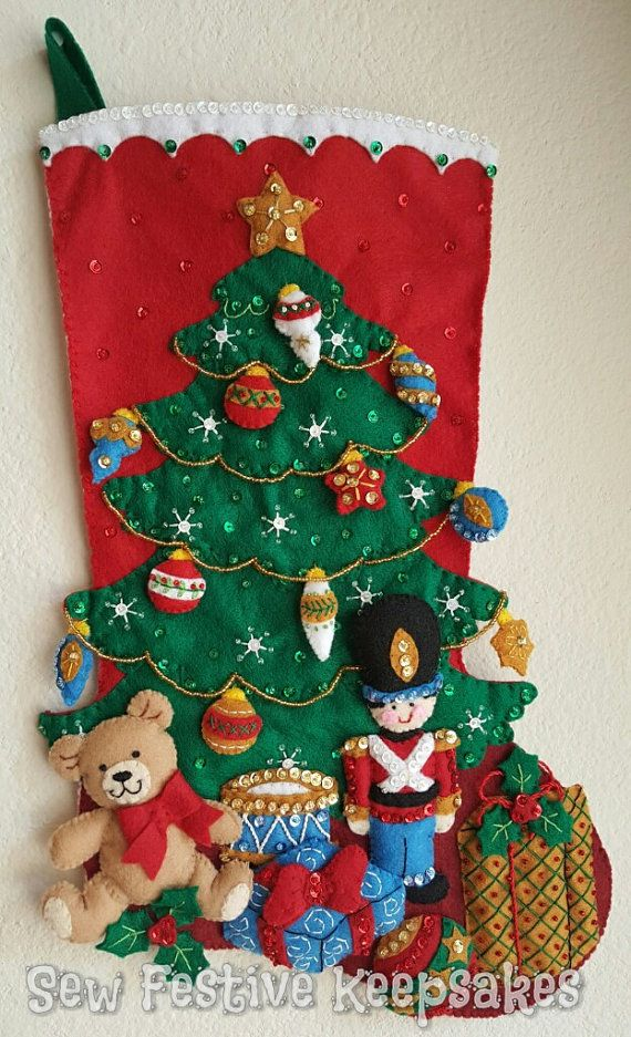 Christmas Stocking, Under the Tree, Toy Soldier Stocking, Teddy Bear Stocking, Felt Stocking, Embroidered Stocking, Personalized Stocking