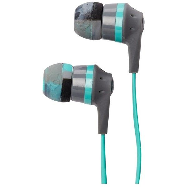 Skullcandy Ink'd 2.0 Mic'd (Gray/Mint/Gray) Headphones ($21) ❤ liked on Polyvore featuring accessories, tech accessories, earbud headphones, skullcandy earbuds, skullcandy, skullcandy headphones and headphone earbuds