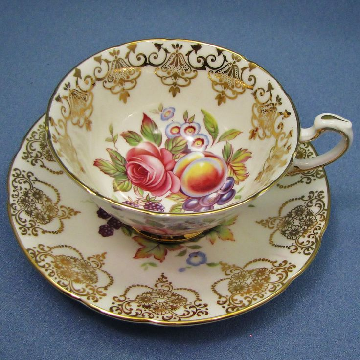 Paragon Pink ROSE Peach and Pear Tea Cup and Saucer, Gold Swag Garland, Made in England, Fine Bone China by Thinkilikeit on Etsy