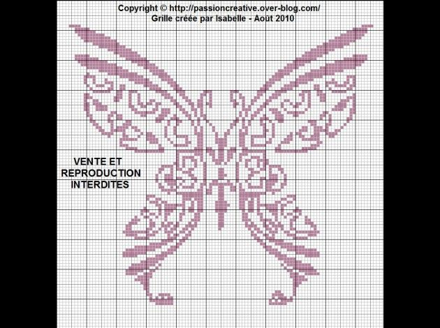 Free Cross Stitch Pattern - tribal butterfly