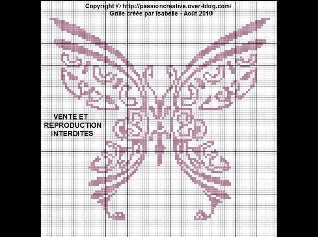 Free Cross Stitch Pattern - tribal butterfly