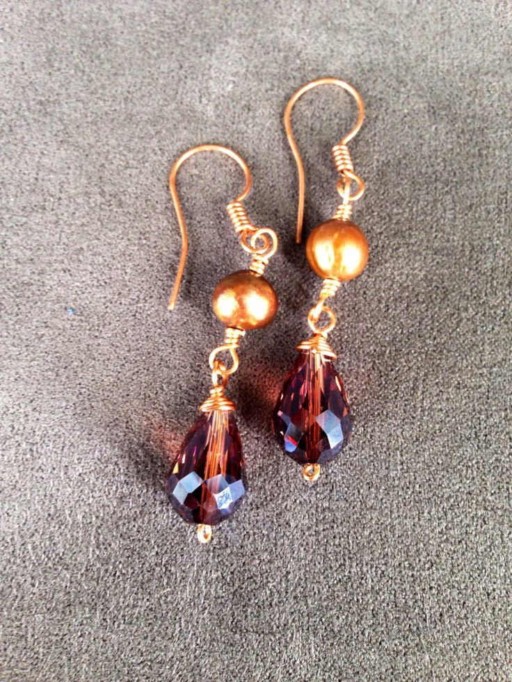 Golden Brown Pearl, Purple Crystal and Copper Dangle Earrings by TrinesTreasures on Etsy
