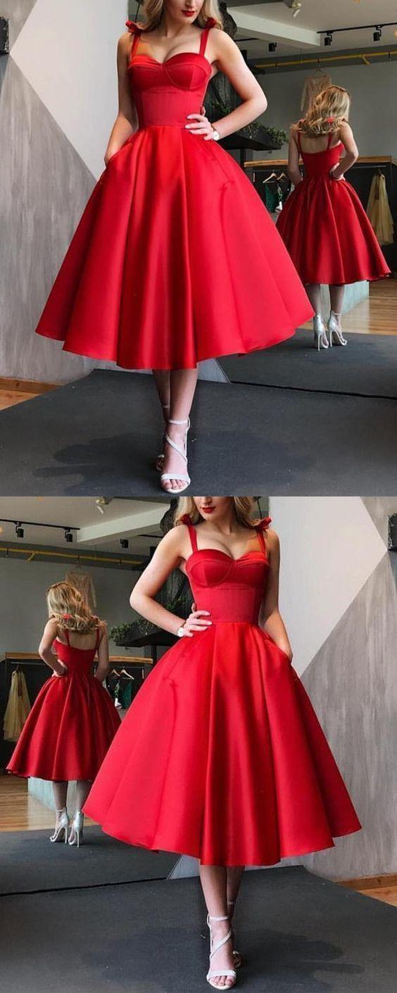 Vintage A-Line Sweetheart Open Back Red Satin Below Knee Length Prom Dresses with Pockets,1950s Vintage Dresses DG1127015