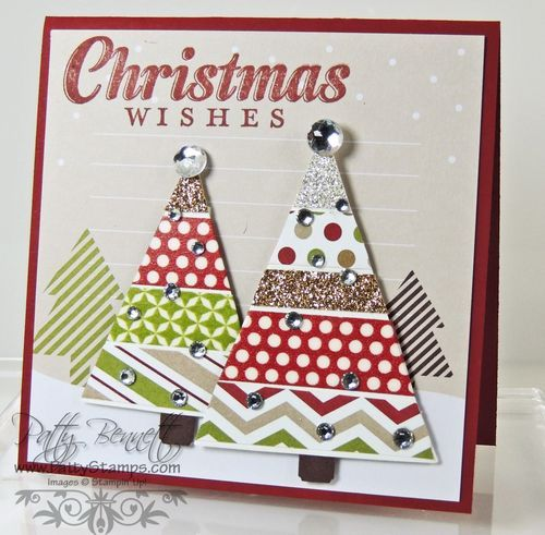 www.PattyStamps.com - Use the Season of Style Journaling Tags from Stampin Up for a different and fun background for your Christmas cards!