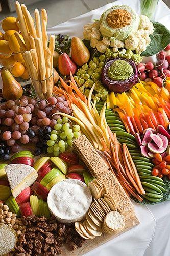 Most amazing cheese, fruit and veggie platter!  Beautiful presentation