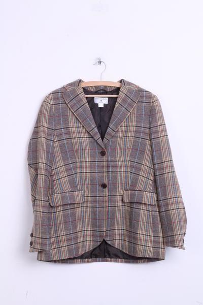 Rick Cardona Womens 18 L Jacket Blazer Check Brown Single Breasted Patches - RetrospectClothes