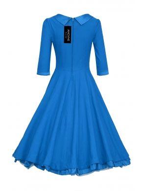 Yeni Blue Angvns Retro Şık Bayanlar Bebek Elbise Yarım Kol Yüksek Bel Elegant Solid Long Casual Elbiseler