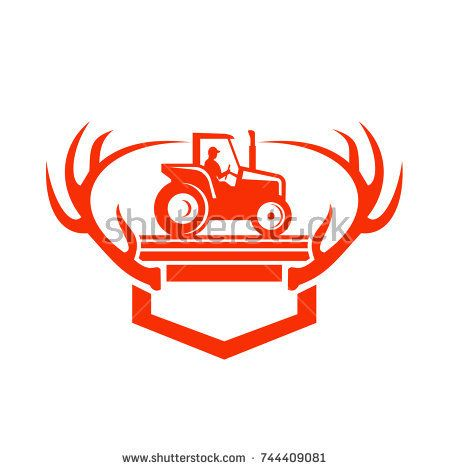 Retro style illustration of a White Tail Deer Antler framing a farmer driving a farm Tractor viewed from side on isolated background.  #tractor #retro #illustration