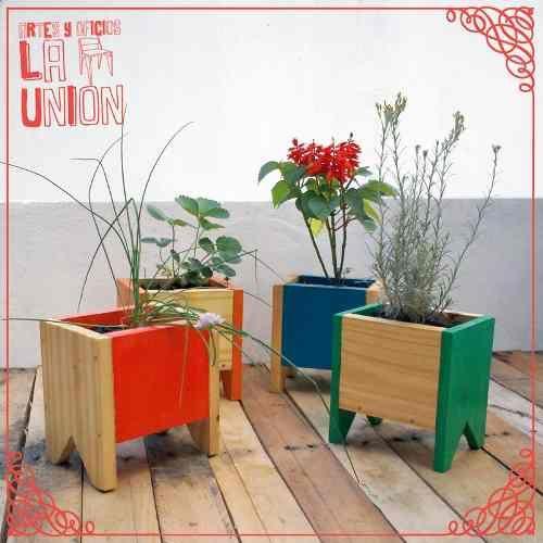 Maceta Cajoncito Huerta O Florales En Madera Pintados A Mano - $ 120,00