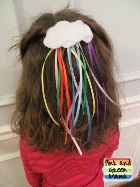 Pink and Green Mama: Cute DIY St. Patrick's Day Craft: Rainbow Ribbon Hair Barrette