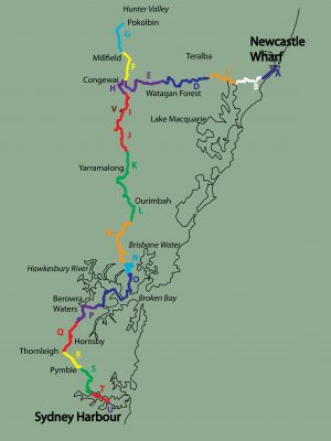 The Great North Walk is a 250 km path from central Sydney to downtown Newcastle in Australia.