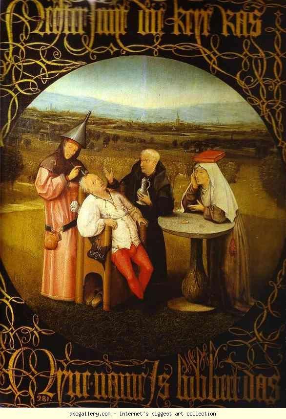 Йеронимус Бош.  The Stone експлоатация.  Галерия Олга - Йеронимус Бош.  The Stone експлоатация.  1475-1480.  Маслени панел.  Музей дел Прадо, Мадрид, Испания: